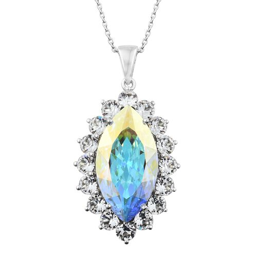J Francis Crystal from Swarovski - AB Colour Crystal (Mrq), White Colour Crystal Pendant with Chain in Platinum Overlay Sterling Silver, Silver wt 8.95 Gms. (Equivalent Ct. wt 27.500)