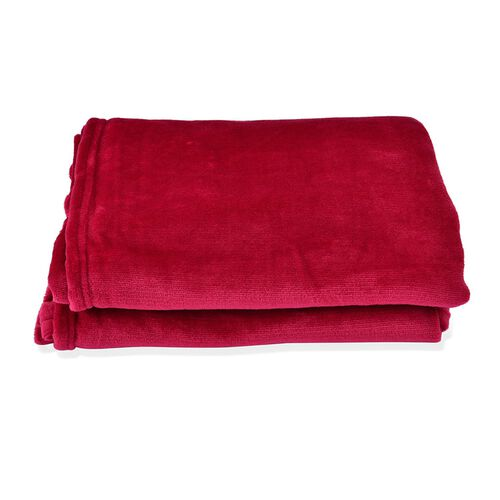 Superfine Burgundy Colour Microfiber Blanket 150x200 cm