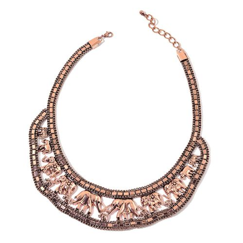 Elephant Necklace (Size 18 with 2 inch Extender) and Hook Earrings in Rose Gold Tone