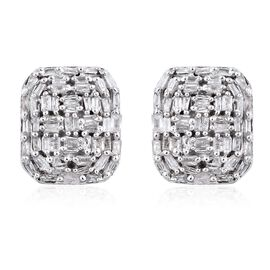 GP Diamond (Bgt), Kanchanaburi Blue Sapphire Stud Earrings (with Push Back) in Platinum Overlay Sterling Silver 0.530 Ct.