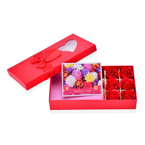 Set of 3 - 100% Silk Gradually Orange Colour Scarf (Size 180x70) with 6 Pcs Floral Shape Soap in a Red Colour Box
