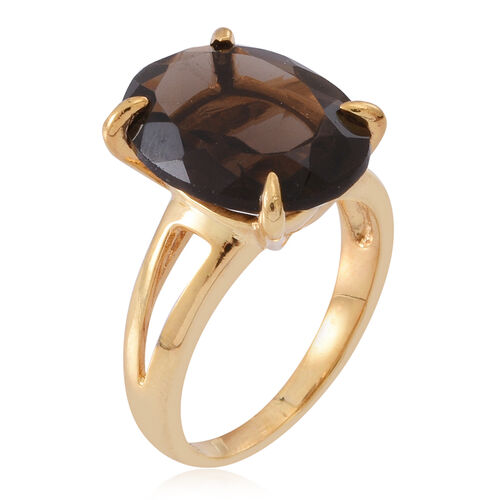 Brazilian Smoky Quartz (Ovl) Solitaire Ring in 14K Gold Overlay Sterling Silver 8.000 Ct.