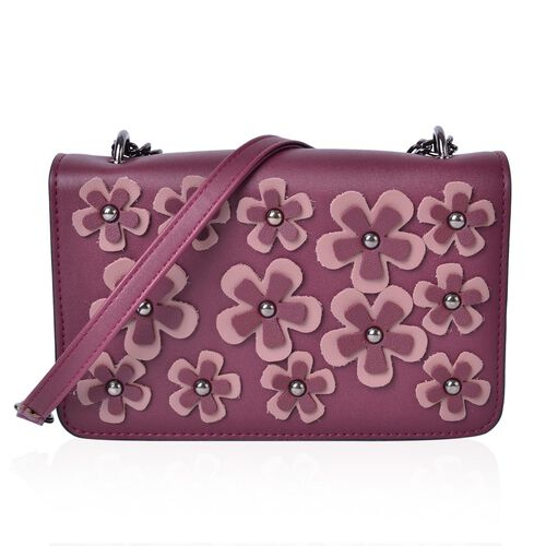 S/S 2018 Burgundy and Pink Colour 3D Floral Pattern Crossbody Bag with Removable Shoulder Strap (Size 20.5X13X4 Cm)