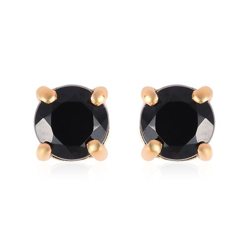 Boi Ploi Black Spinel (Rnd) Solitaire Pendant and Stud Earrings (with Push Back) in 14K Gold Overlay Sterling Silver 1.250 Ct.