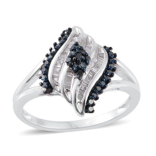 Blue Diamond (Rnd), White Diamond Cocktail Ring in Platinum Overlay Sterling Silver 0.310 Ct.
