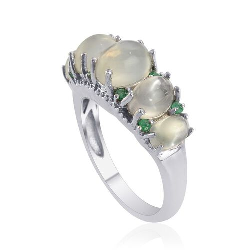 Indian Green Moonstone (Ovl 1.50 Ct) Kagem Zambian Emerald Ring in Platinum Overlay Sterling Silver  4.750 Ct.