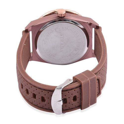 STRADA Japanese Movement Chocolate Dial Water Resistant Watch in Rose Gold Tone with Stainless Steel Back and Chocolate Rubber Strap