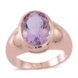 Rose De France Amethyst (Ovl) Solitaire Ring in 14K Rose Gold Overlay Sterling Silver 5.000 Ct. Silver wt 5.30 Gms.