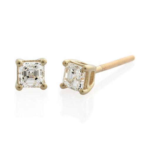 ILIANA 18K Yellow Gold IGI Certified Diamond (Asscher Cut) (VS/G-H) Stud Earrings (with Screw Back) 0.500 Ct.