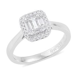 RHAPSODY 950 Platinum 0.50 Carat Diamond Cluster Engagement Ring IGI Certified Diamond VS E-F.