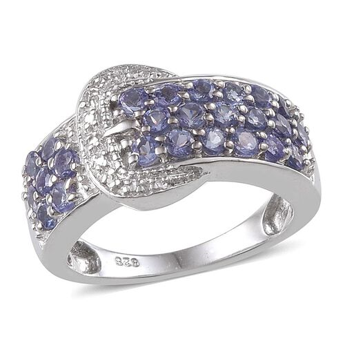 Tanzanite (Rnd), Diamond Buckle Ring in Platinum Overlay Sterling Silver 1.510 Ct.