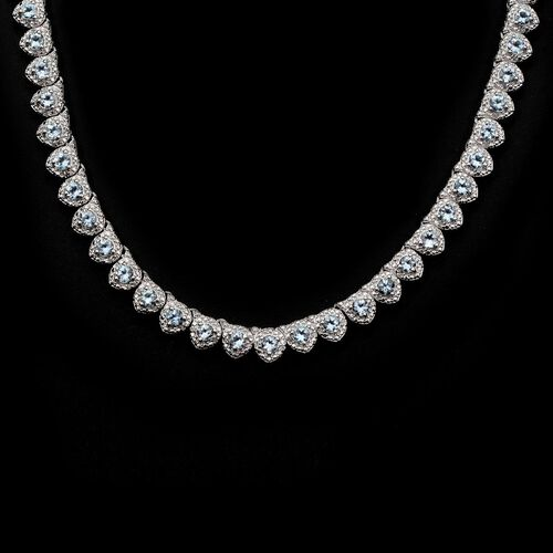 Espirito Santo Aquamarine (Rnd), Diamond Necklace (Size 18) in Platinum Overlay Sterling Silver 11.910 Ct.