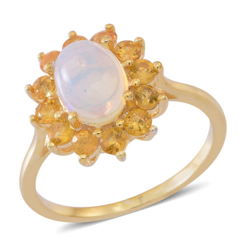 AA Ethiopian Welo Opal (Ovl), AAA Chanthaburi Yellow Sapphire Ring in 14K Gold Overlay Sterling Silver 2.200 Ct.
