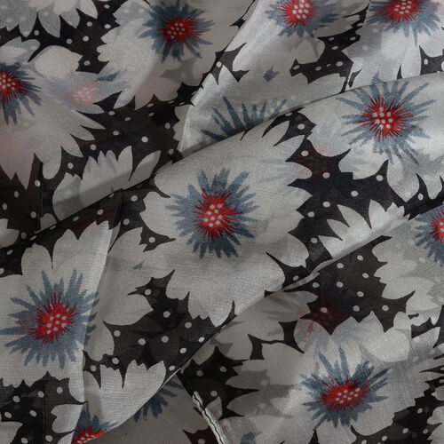 100% Mulberry Silk White, Black and Multi Colour Handscreen Floral Printed Scarf (Size 170X50 Cm)