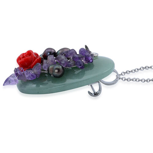 Fresh Water Peacock Pearl, Green Aventurine and Amethyst Brooch or Pendant with Stainless Steel Chain in Silver Tone with Resin