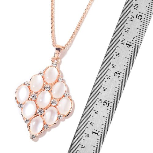 Simulated White Cats Eye and White Austrian Crystal Pendant With Chain (Size 28) in Rose Gold Tone