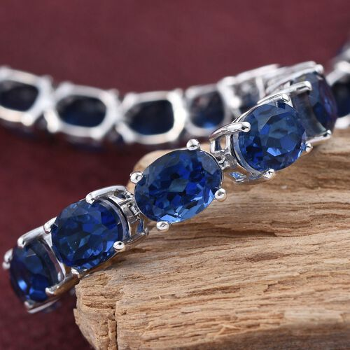 Ceylon Colour Quartz (Ovl) Tennis Bracelet (Size 7.5) in Platinum Overlay Sterling Silver 34.000 Ct.