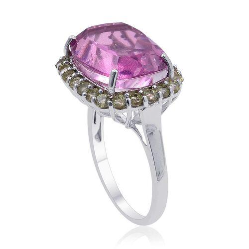 Kunzite Colour Quartz (Cush 9.75 Ct), Hebei Peridot Ring in Platinum Overlay Sterling Silver 10.750 Ct.