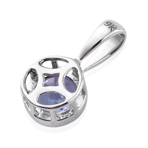 1.15 Ct AA Tanzanite Solitaire Pendant in 9K White Gold
