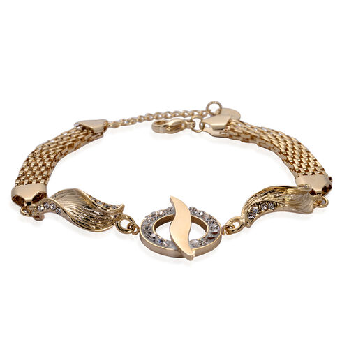 White Austrian Crystal Bracelet in ION Plated Yellow Gold Stainless Steel (Size 7.5 with 1 Inch Extender)