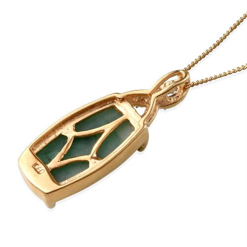 Brazilian Emerald (Cush) Solitaire Pendant With Chain in 14K Gold Overlay Sterling Silver 6.500 Ct.