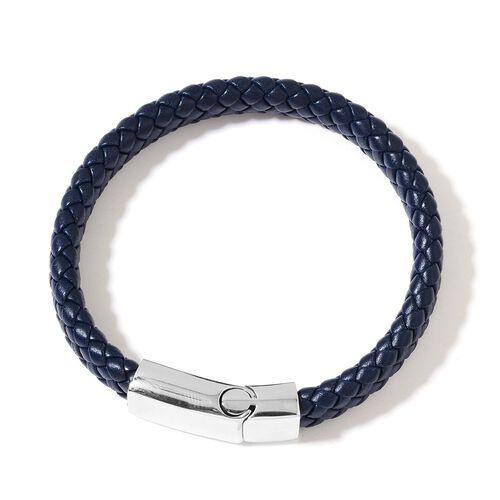 PU Leather Navy Blue Braided Bracelet (Size 8.5) with Stainless Steel Clasp