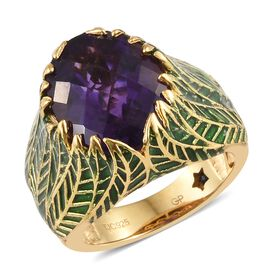 GP Amethyst (Ovl 8.23 Ct), Kanchanaburi Blue Sapphire Floral Ring in 14K Gold Overlay Sterling Silver 8.250 Ct. Silver wt 9.60 Gms.