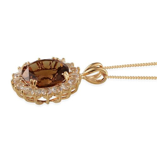 Alexite (Rnd 8.50 Ct), White Topaz Pendant With Chain in 14K Gold Overlay Sterling Silver 11.000 Ct.