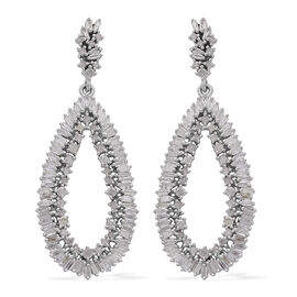 Designer Inspired-Diamond (Rnd) Drop Earrings (with Push Back) in Platinum Overlay Sterling Silver 2.000 Ct.