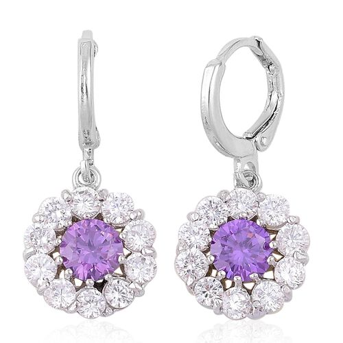 AAA Simulated Amethyst and Simulated White Diamond Hoop Earrings in Silver Tone