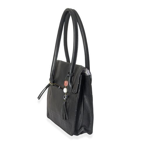 Limited Edition Genuine Leather RFID Blocker Black Colour Handbag (Size 32X25X8 Cm) with Gemstone Tassel Charm