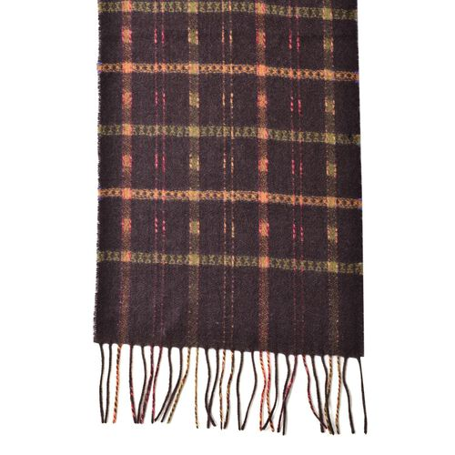 100% Wool Chocolate, Green and Multi Colour Checks Pattern Scarf with Tassels (Size 170X25 Cm)