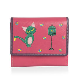 100% Genuine Leather Fuchsia, Green and Multi Colour Cat and Birds Pattern RFID Blocker Wallet (Size 13x11x2 Cm)