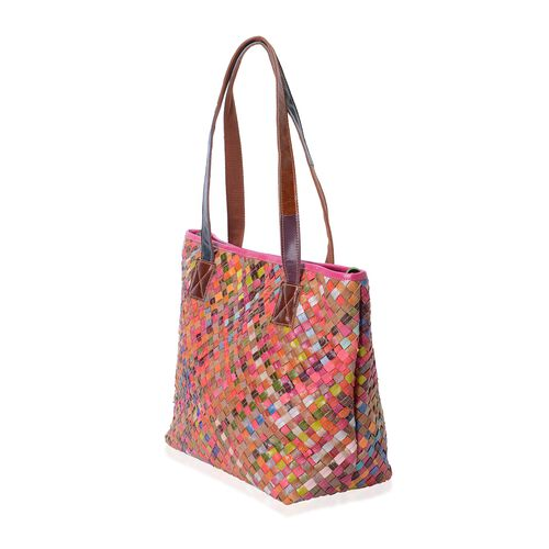100% Genuine Leather Multi Colour Woven Pattern Tote Bag (Size 42x30x29x14 Cm)