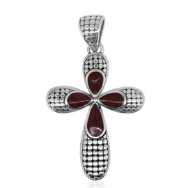 Royal Bali Collection Coral Cross Pendant in Sterling Silver. Silver Wt 6.00 Gms