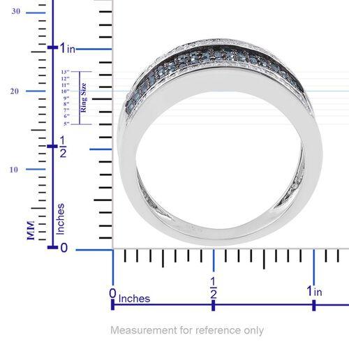 Blue Diamond (Rnd), White Diamond Ring in Platinum Overlay Sterling Silver 0.700 Ct.