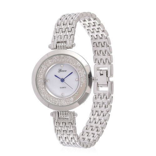 GENOA Japanese Movement White Dial with White Austrian Crystal Water Resistant Watch in Silver Tone with Stainless Steel Back and Chain Strap