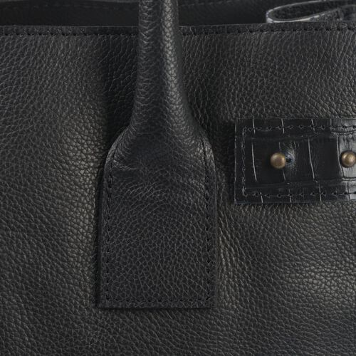 Luxury Edition-100% Genuine Premium Leather (High Grain) RFID Blocker Black Colour Handbag with Adjustable and Removable Shoulder Strap (Size 36X26X18 Cm)
