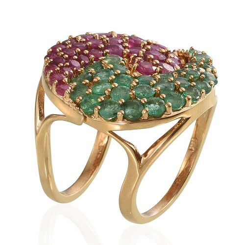 African Ruby (Rnd), Emerald Sakota 2 Ring Set in 14K Gold Overlay Sterling Silver 5.750 Ct.