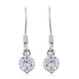 J Francis - Platinum Overlay Sterling Silver (Rnd) Hook Earrings Made with SWAROVSKI ZIRCONIA