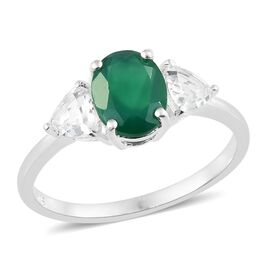 One Time Deal- AAA Verde Onyx (Ovl 9X7 mm), White Topaz Trilogy Stone Ring in Sterling Silver 2.750 Ct.