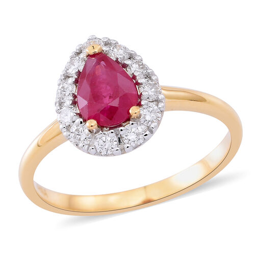 ILIANA 18K Yellow Gold AAAA Burmese Ruby (Pear), Diamond (SI/G-H) Ring 1.150 Ct.