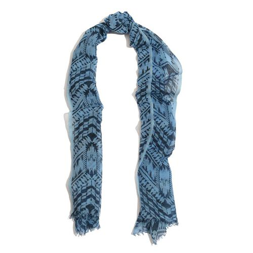 Designer Inspired 100%  Wool  Dark and Light Blue Colour Hand Block Printed Scarf (Size 185x75 Cm)