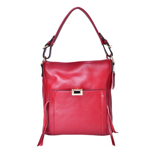 Premium Collection 100% Genuine Leather True Red Colour Tote Bag with External Zipper Pocket (Size 29X27X10 Cm)