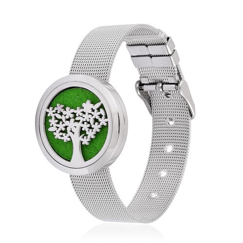 Tree of Life Design Watch Look Bracelet (Size 5.5 to 7.5) in Stainless Steel