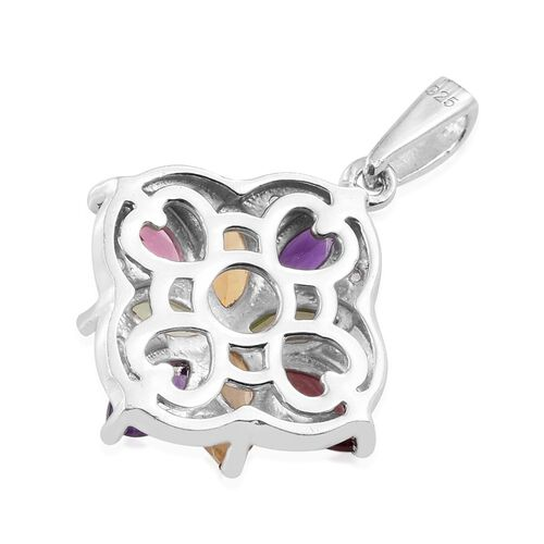 Mega Deal - Rhodolite Garnet (Mrq), Hebei Peridot, Amethyst, Citrine and White Topaz Pendant in Platinum Overlay Sterling Silver 2.010 Ct.