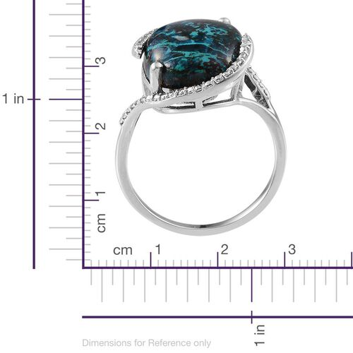 Table Mountain Shadowkite (Ovl 14.25 Ct), Diamond Ring in Platinum Overlay Sterling Silver 14.260 Ct.