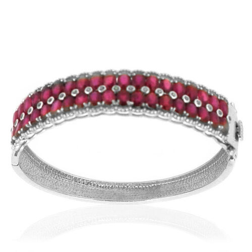 AAA African Ruby (Ovl), White Topaz Bangle in Rhodium Plated Sterling Silver (Size 7.5) 28.000 Ct.