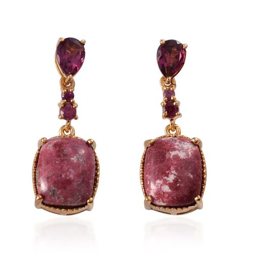 Norwegian Thulite (Cush), Rhodolite Garnet Earrings in 14K Gold Overlay Sterling Silver 14.250 Ct.
