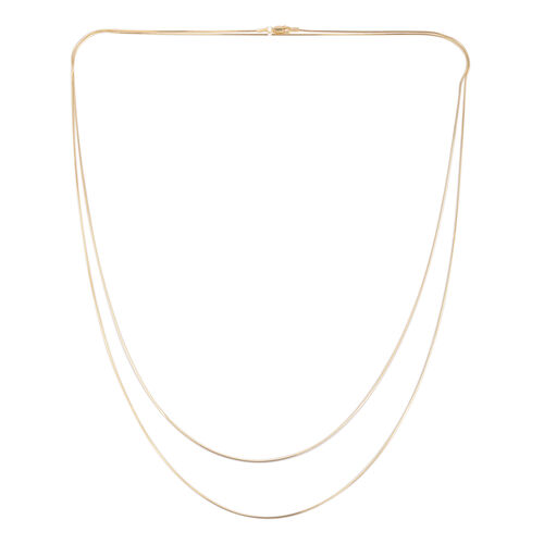 JCK Vegas Collection 14K Gold Overlay Sterling Silver Double Strand Snake Necklace (Size 60), Silver wt 9.00 Gms.
